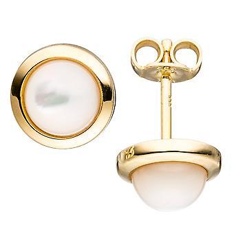 gold Ohrstecker rund 333 Gold Gelbgold 2 Perlmutt-Steine Ohrringe Goldohrringe
