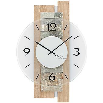 9542 AMS pared reloj de cuarzo analógico madera Sonoma óptica moderna con piedra natural y cristal
