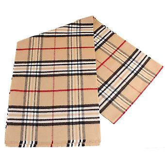 Fraas Checked Scarf - Camel Beige
