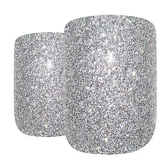 False nails by bling art silver gel french squoval 24 fake medium acrylic tips