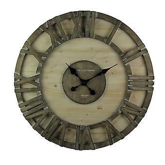 الساعة الحائط الحديثة كبيرة الحجم Barnwood ريفي مؤطرة 30 بوصة