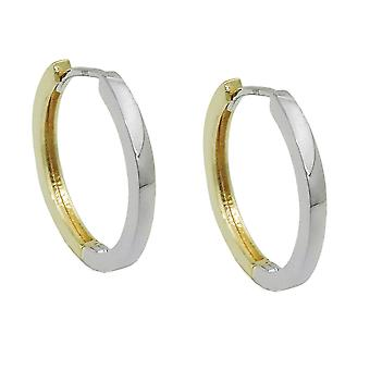 Creole 17x2mm flap hinge bicolor with white gold shiny smooth 9Kt GOLD