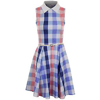 Dames mouwloos Peter Pan Collar Belted Controleur Vrouwen Flare Party Dress