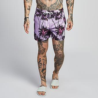 Sik silke Palm bearbeide Shorts dyp lilla