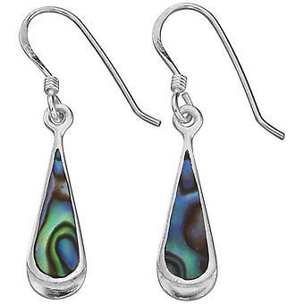 Början Paua skal långsträckt Teardrop droppe örhängen - Multi färg/Silver
