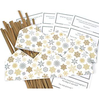Gold & Silver Snowflake Adjustable Paper Hats, Snaps & Christmas Jokes for Cracker Making Crafts - 10 or 25 Pack