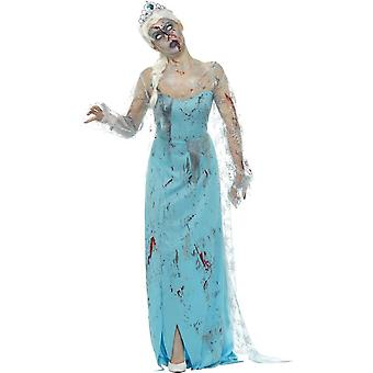 Zombie Froze to Death Costume, Blue, with Dress, Attached Latex Ribs & Tiara