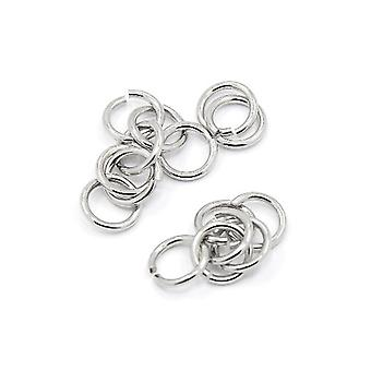Packet 100+ Silver 304 Stainless Steel Round Open Jump Rings 1.2 x 8mm Y01900