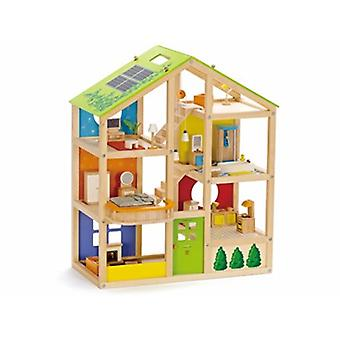 HAPE All Season Furnished Wooden Doll House E340 Happy Family Children 3+ Years