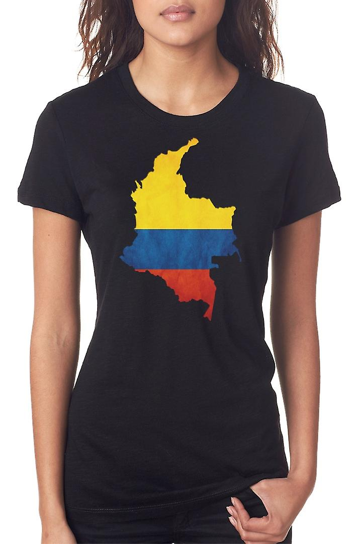 Columbian Columbia Flag Map Ladies T Shirt
