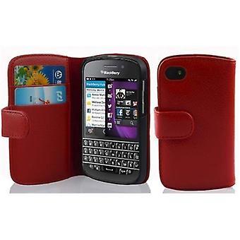 Cadorabo Hülle für Blackberry Q10 -Handyhülle aus strukturiertem Kunstleder mit Standfunktion und Kartenfach – Case Cover Schutzhülle Etui Tasche Book Klapp Style