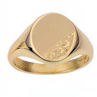 9 قيراط الذهب محفورة اليد الصلبة 14x12mm