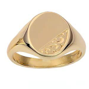 9ct Gold 14x12mm solid hand engraved oval Signet Ring Size U