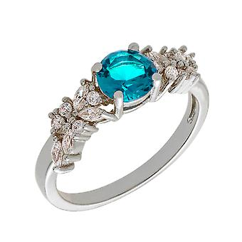 Bertha Juliet Collection Women's 18k WG Plated Light Blue Cluster Fashion Ring Size 7
