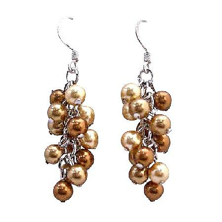Golden Copper Pearls Grape Style Earrings Swarovski Earrings