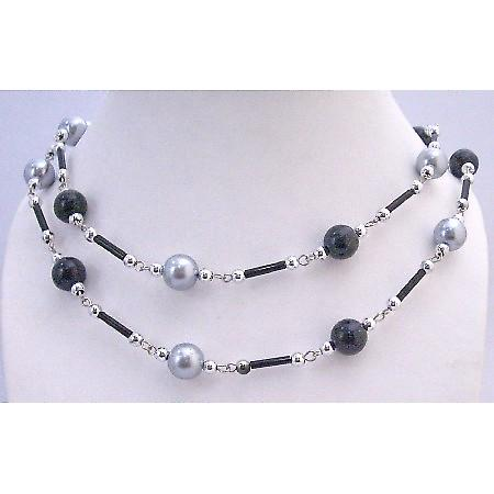 Affordable Grey Black Pearl Long Summer Necklace Fancy Beads 56 Inches