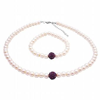 Ivoor ketting armband Amethyst Pave bal ketting armband sieraden
