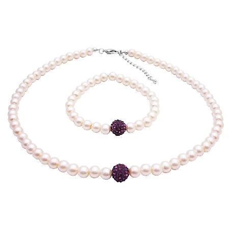 Ivory Necklace Bracelet Amethyst Pave Ball Necklace Bracelet Jewelry