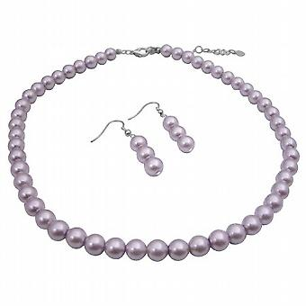 Pearls Bead Jewelry Set Purple Lavender Beautiful color Necklace Set