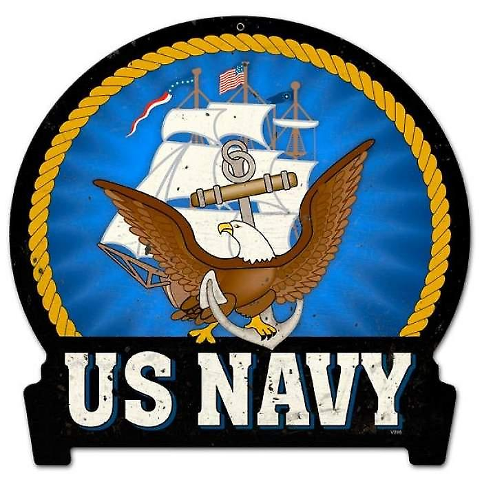 US Navy die cut metal sign (pst shaped)