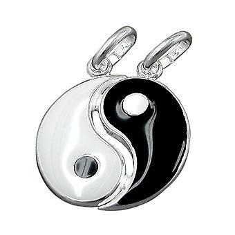 Yin-Yang hanger zilver vriendschap hanger geschilderd 2 oogjes deelbaar 925 zilver