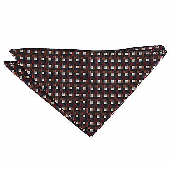 Black with Bronze, Silver and Red Chequered Geometric Pocket Square