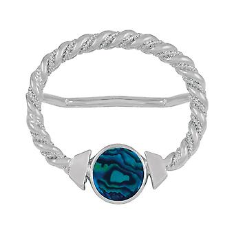 Eternal Collection Maxi Blue Paua Shell Large Silver Scarf Ring