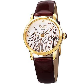 Burgi Women's Diamond Reed Design Dial Gold-Tone/Burgundy Leather Strap Watch BUR173BUR