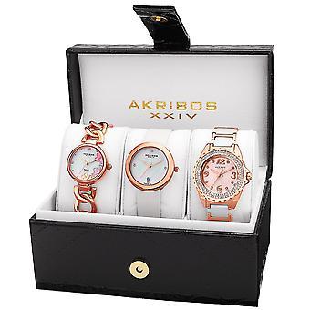 Akribos XXIV Women's AK887 Diamond Bracelet/Strap Watch Set AK887RG