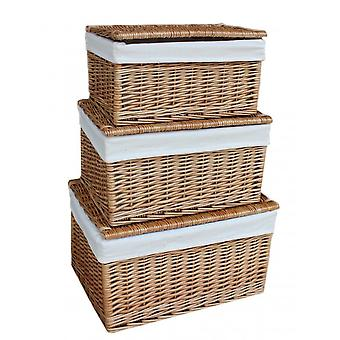 Small Light Steamed Cotton Lined Wicker Storage Basket