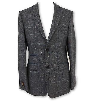 Santinelli Montenegro jacket in blue and grey tweed/blue check