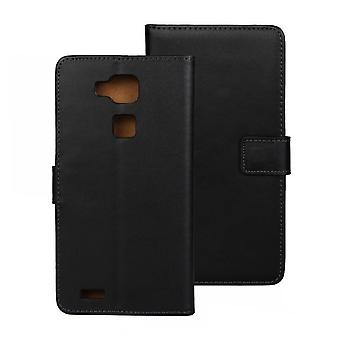 Wallet cover Huawei Mate 7, genuine leather, black