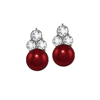 Eternal Collection Signature Burgundy Red Glass Pearl And Crystal Silver Tone Stud Pierced Earrings
