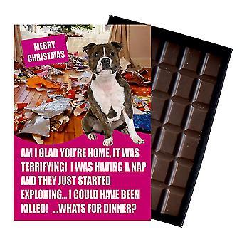 Staffordshire Bull Terriër grappige kerstcadeau voor hond minnaar boxed chocolade groet xmas aanwezig