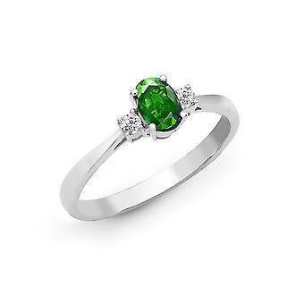 Jewelco London 18kt White Gold 4 Claw set G si 0.08 ct Diamond och oval grön 0.5 CT Emerald Trilogy förlovnings Ring 6mm