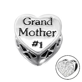Heart Grand Mother - 925 Sterling Silver Jewelled Beads - W10079X