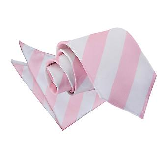 Baby Pink & White Striped Tie & Pocket Square Set