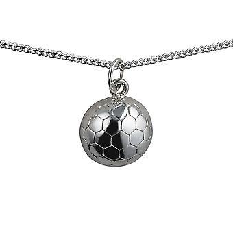 Zilver 14 mm solid voetbal met een curb Chain 18 inch