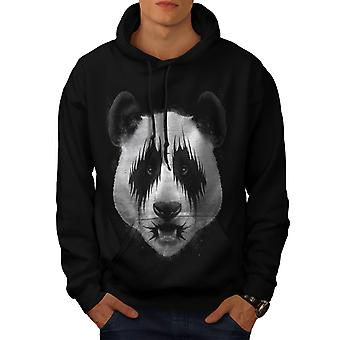 Kiss Panda Bear Face Funny Band Men Black Hoodie | Wellcoda