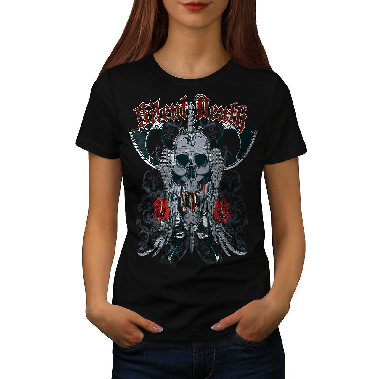 Silent Death Rose skalle kvinnor svart T-shirt | Wellcoda
