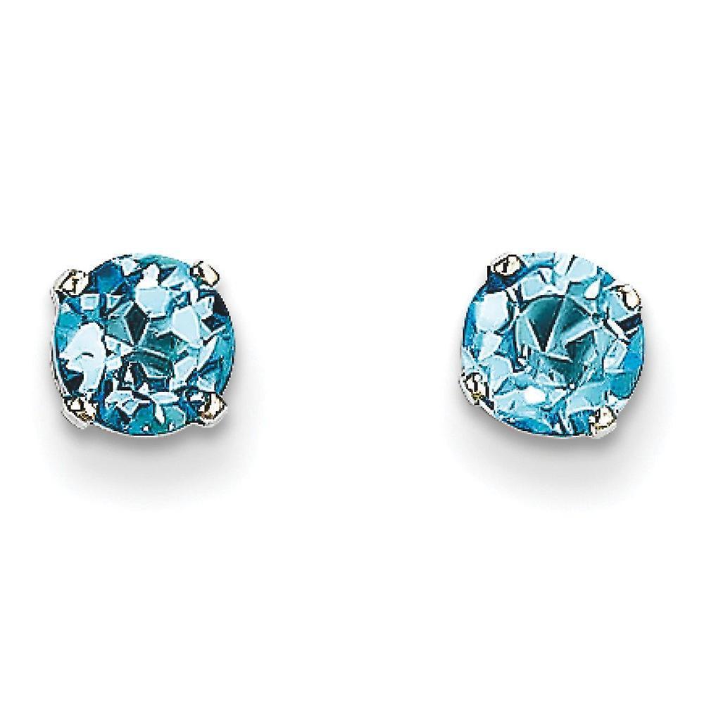 14k blanc or Post Earrings 5mm bleu Topaz Stud Earrings