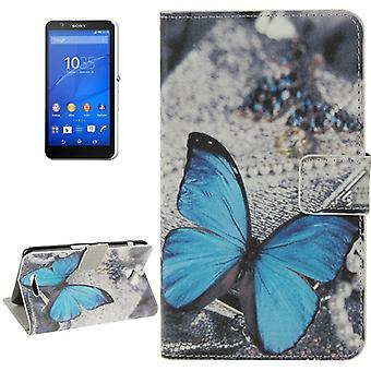 Phone Case Bag for Cell Phone Sony Xperia E4 Blue Butterfly