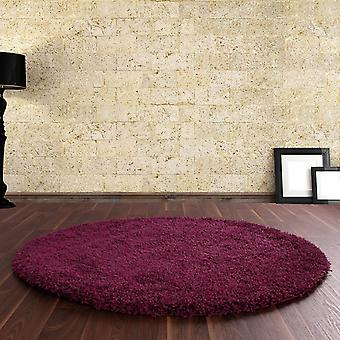 Ultima Shaggy Round Rugs In Aubergine