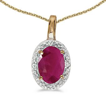 10k Yellow Gold Oval Ruby And Diamond Pendant with 18