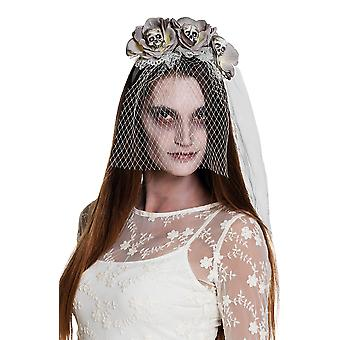 Day of the Dead Zombie Skulls Flower Headband with Veil Halloween Accessory