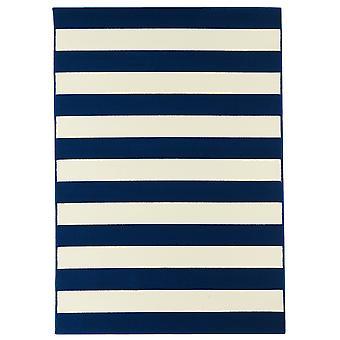 Marineblå kystnære stribet Flatweave tæppe - Floorit