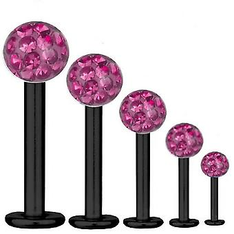 Labret Bar Tragus Piercing Black Titanium 1,2 mm, Multi Crystal Ball Pink | 5-12