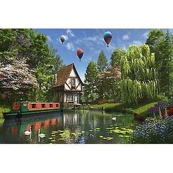 Lille hus ved søen plakat Print af Dominic Davidson