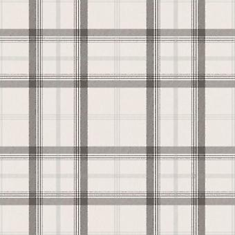Plaid Wallpaper Tartan Chequered Classic Cambridge Black White Silver Fine Decor