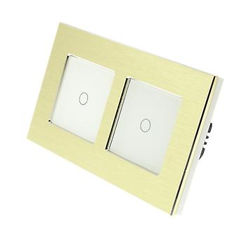 I LumoS Gold Brushed Aluminium Double Frame 2 Gang 1 Way Remote & Dimmer Touch LED Light Switch White Insert